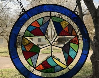"""Large Stained Glass Window Suncatcher in Stunning Colors-Abstract Bevel Star 16"""" Round"""