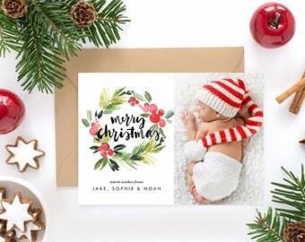 PRINTABLE Holiday Photo Card - Watercolor Holly Wreath Merry Christmas Photo Card - Digital Christmas Card