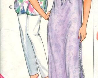"""Butterick 3850, Sz 6-14/P-M/Bust 30.5-36"""". Ladies sleepwear/pajamas/nightgown pattern, vintage 80s Misses sewing pattern."""