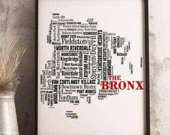 Bronx Map Art, Bronx Art Print, Bronx Neighborhood Map, Bronx Typography Art, Bronx Wall Decor, Bronx Moving Gift