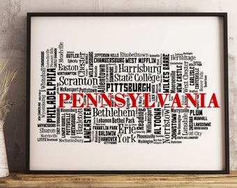 Pennsylvania Map Art, Pennsylvania Art Print, Pennsylvania City Map, Pennsylvania Typography Art, Pennsylvania Wall Decor, Pennsylvania Gift