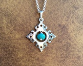 Wesley Diamond Turquoise Colored Bead Pendant