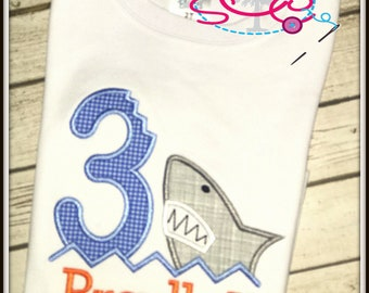 Personalized Shark Themed Birthday Shirt/Bodysuit--Shark Birthday