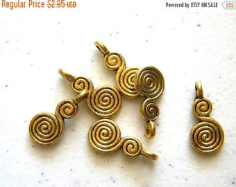HALF PRICE 10 Gold Double Spiral Charms