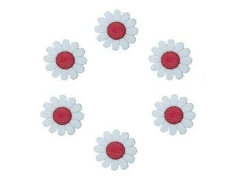 6 buttons 13 mm red daisy flowers