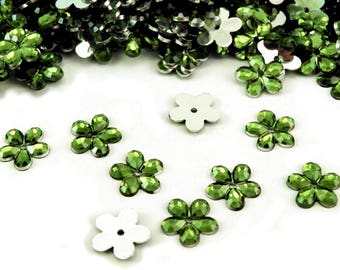 50 flowers green yellow clear Crystal