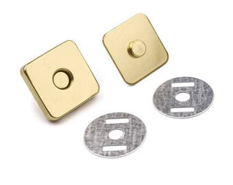 Square magnetic clasp gold 18 mm for bag