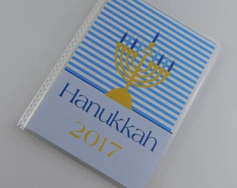 Hanukkah Photo Album 4x6 or 5x7 picture Manorah Candle Star of David Blue Gold Family Holiday Brag Book personalized 818