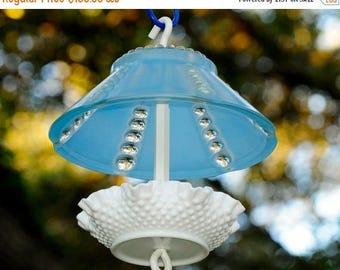 40% OFF SALE Hanging glass bird feeder - squirrel proof feeder - glass garden art bird feeder