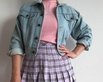 vintage CLOSED light blue bleached denim cropped jacket spring summer jacket cute light blue retro 80s 90s cute kawaii tumblr soft grunge