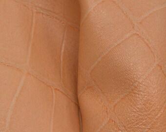 "Fashion Cosmos Peach Embossed Gator Lambskin Leather Hide 12"" x 12"" Pre-cut 2-3 ounce DE-64290 (Sec. 5,Shelf 4,C)"
