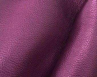 "Metallic Perfect Purple Leather Cow Hide 4"" x 6"" Pre-cut 5-6 oz pebble grain DE-66248 (Sec. 3,Shelf 5,B,Box 4)"