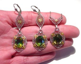 Art DECO Sterling Silver Filigree Bi-Color PASTE Necklace and Earring SET