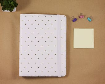 A5 planner 2018, 6 ring planner binder, planner organizer A5 white and gold polka dots with elastic