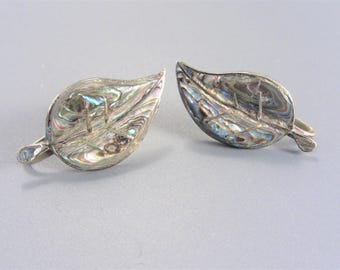 Vintage Sterling Taxco Abalone Inlay Leaf Earrings