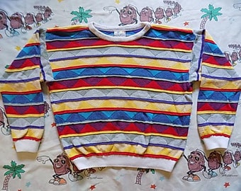 Vintage 90's authentic COOGI Australia abstract Striped Sweater, size M/L mercerised textured 3D