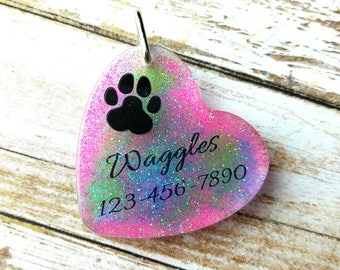 Pet ID Tag, Puppy Tag, Small Dog Tag, Paw Print Tag, Pet Sympathy Gift, Best Selling Items, Dog Collar, Resin Pet Tag, Printed Dog Tag