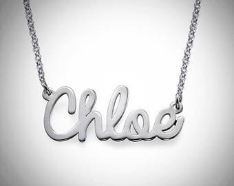 Name Necklace| Wire Cursive Name Necklace| Silver| Gift| Jewelry