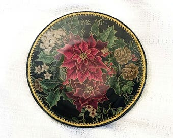 Poinsettia and Holly Decorative Plate **FREE Shipping in USA**