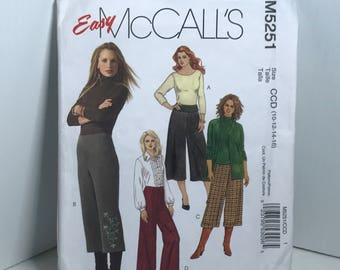 D172 McCall's 5251,sewing pattern, women's, Gaucho pants, flared leg , pants,low rise size 10-12-14-16  uncut