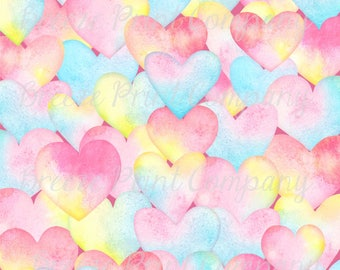 Watercolor HTV pastel LARGE heart pattern craft craft vinyl sheet - HTV or Adhesive Vinyl -  Valentine's Day HTV3960