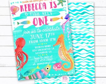 O-Fish-Ally One Fish Birthday Party Invitation, Ocean Party Invite, Sea Party, Underwater Party Invitation, First Birthday, Fish Birthday