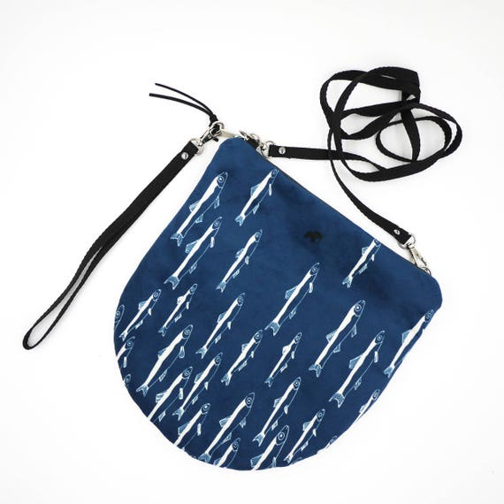 "Shoulder bag blue and white graphic ""anchovies"", all-round LARGE brushed Poly Pochette"