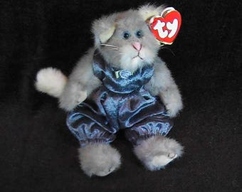Vintage 1993 TY Cat Whiskers Plush, TY Attic Treasure Collection, Whiskers the Cat, TY Cat with Tag, Collectible Plush