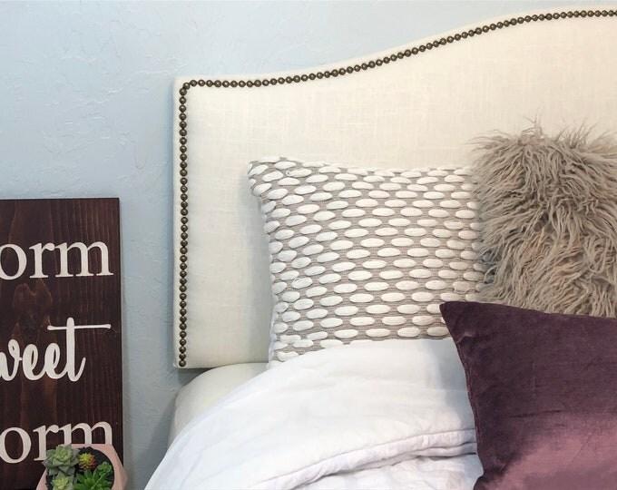Queen Headboard, Linen Headboard with Nailhead Trim, Camelback Headboard, Bedroom Furniture, Dorm Headboard, Low Profile Headboard