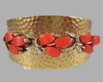 Gold Cuff Bracelet - Thermoset - Repurposed Vintage - Cuff Bracelet - Reclaimed Vintage Jewelry - Thermoset Jewelry