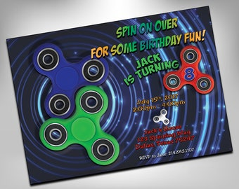 Fidget Spinner Invitation, Fidget Spinner Birthday Invitation, Fidget Spinner Party Invitation, Fidget Spinners, Hand Spinner, Fidget Toy