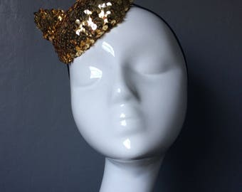 Gold sequin cat ear button fascinator - can be made to order in different colours