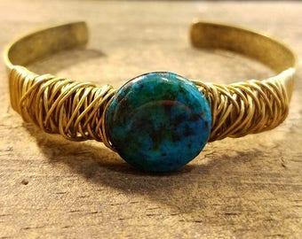 Turquoise Bracelet, Bronze Cuff Bracelet, Cuff Bracelet