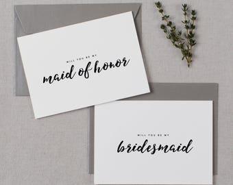 4 x Will You be My Bridesmaid Card, Bridesmaid Proposal, Maid of Honor Card, Will You Be My Maid of Honor, Bridesmaid Card, Bridal Cards, K8