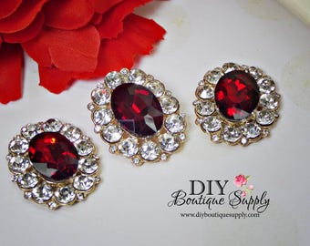 NEW Large RED Crystal Buttons Rhinestone Buttons Gold  Flatback Embellishment Great For Shoe Clips Bows flower centers 3pc 32x25mm N144