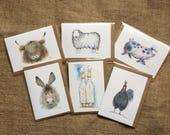 Pack of six mixed British farm animal greetings cards, farm animals, animal cards