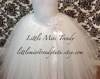 ON SALE Long White Tutu Skirt, White Flower Girl Tutu, Long Tutu, White Long Tutu, White Tutu Skirt, Long Children Tutu, Girls White Tutu Sk