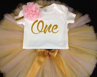 Pink Gold First Birthday Outfit, First Birthday Tutu Set, Birthday Tutu, Pink Gold ONE Birthday Shirt Tutu Set, Girls Birthday Outfit, ONE