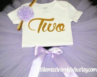 Lilac Purple Tutu Set,  Birthday Set, Second Birthday, Purple Birthday Tutu, TWO Birthday Tutu Set, Second Birthday Tutu Outfit, 2nd Bday