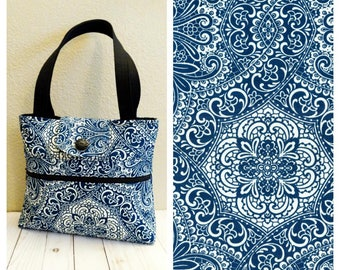Blue Adorned Shoulder Bag /Small  Purse / Magnetic Snap Closure