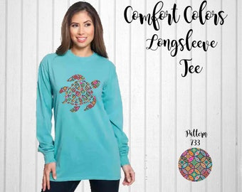 Monogram Shirt, Comfort Colors Long Sleeve Tee, Turtle Tee