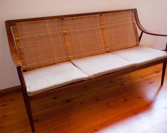 Mid-century Modern teak & cane settee sofa by Peter Hvidt