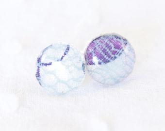 Boucles d'oreille puces blanc imprimé - Argent 925