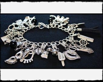 Black Charm Bracelet with Flogger / Whip Charm // Fifty Shades of Grey Inspired // BDSM Gift // Cincuenta Sombras