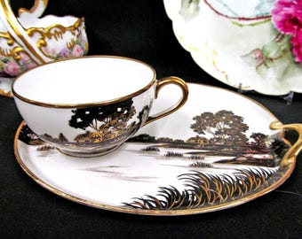 Nippon tea cup and saucer snack plate etched painted scene black & gold teacup snack plate
