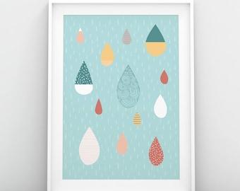 Rain Drops Rainy Day Illustration Weather Theme Nursery Kids Children Play Room Nature Inspired Art Behr Paint Decor Digital Print Pastel