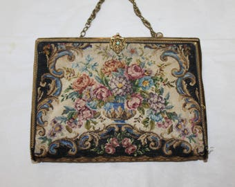 Antique Change Purse, or Coin Purse. Big Enough For I.D. & Phone, Hand Stitched, Ornate Decoration, Gems Everywhere, Chain Handle, Designed