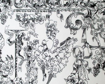 Fabric, Can Can, French Dancer, Day of the Dead Skull Toile, White and Black, Alexander Henry, By The Yard