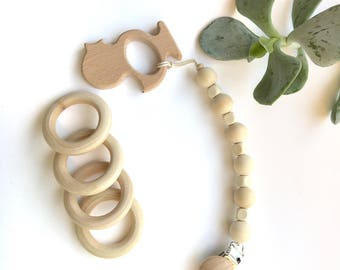 Handmade! Eco Friendly! Baby Boy/Baby Girl Wooden Pacifier Clip~ Holder ~ Teether Toy!!