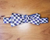Cotton Bow Tie in Vintage Purple, Black and Ivory Gingham Over Denim Blue Cotton-Linen Blend Chambray